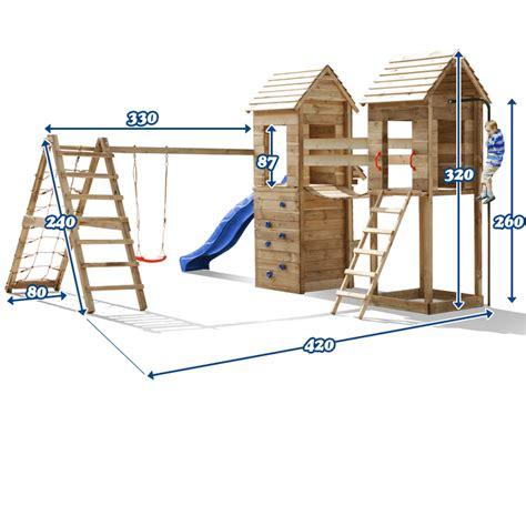 balancoire bois avec cabane balancoire avec toboggan en bois topiwall