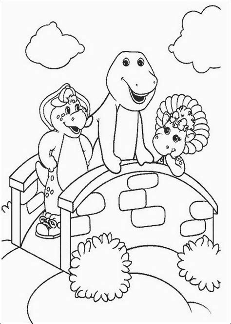 barney with friends coloring page