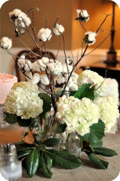 Cotton Stalks With Limelight Hydrangeas And Magnolia