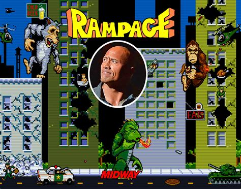 dwayne johnson turning rampage videogame