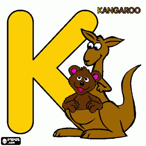 k is for kangar coloring page printable k is for kangar