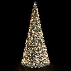 pop up christmas trees 7ft pre lit snow flocked pop up tree 1 8m 200 warm white lights co uk kitchen