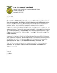 Sponsorship Letter For High School National Ffa Convention Sponsorship Letter By East Jackson High Ffa Issuu