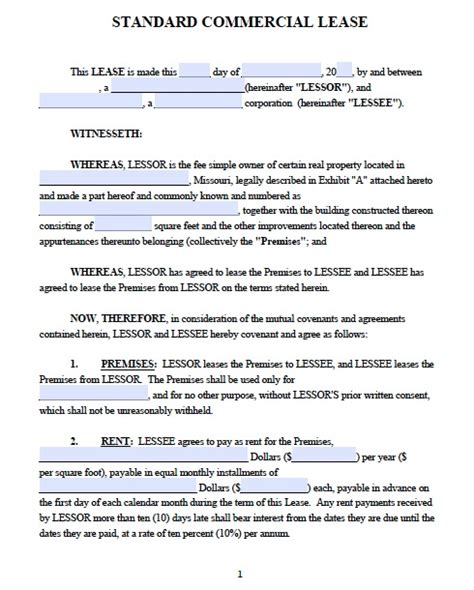 commercial lease templates missouri commercial lease agreement pdf template images
