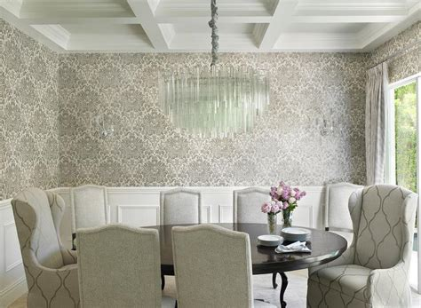 grey wallpaper dining room gray dining room with wainscoting design decor photos