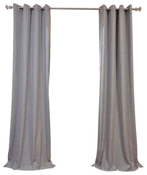 Gray Linen Curtains Grey Faux Linen Grommet Curtain Single Panel Contemporary Curtains