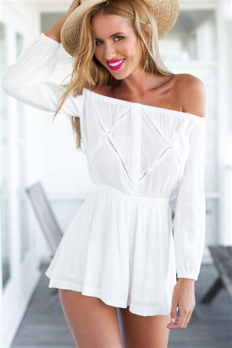 white  shoulder long sleeve chic romper  sexy rompers