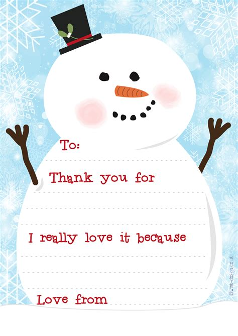 Card Snowman Template by Free Printable Snowman Thank You Letters Wink