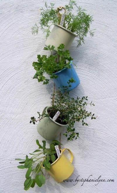 hanging herbs coffee mug herb hanging garden saving our world pinterest