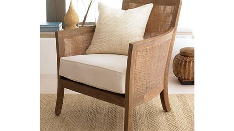 blake rattan white cushioned chair crate  barrel