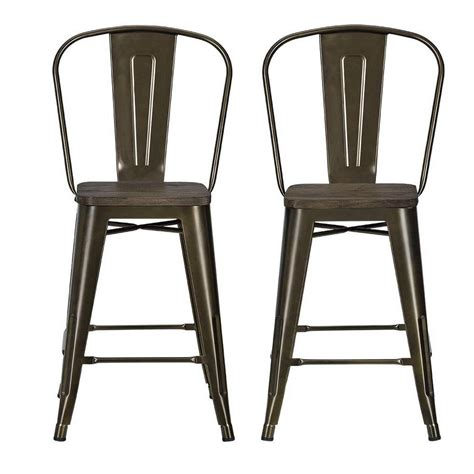 Antique Bronze Counter Stools by Dhp Lena 24 In Antique Bronze Metal Counter Stool With