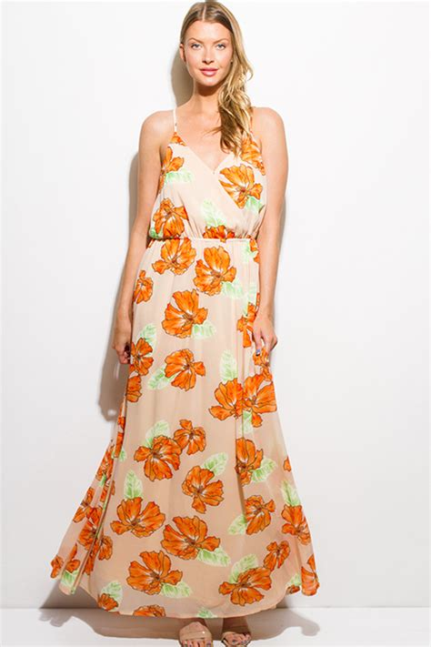 Trend Worth Trying Smocked Patterned Sundresses by Shop Orange Floral Print Chiffon Faux Wrap Keyhole Back