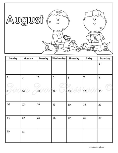 printable calendar 2015 to colour august 2015 calendar coloring pages preschool crafts