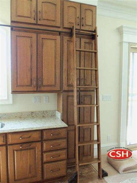 Kitchen Ladder by Rolling Library Ladder Traditional Kitchen By Custom