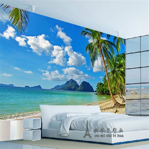 Wallpaper Sticker Dinding 230 pas cher bleu ciel palm papier peint chambre salon