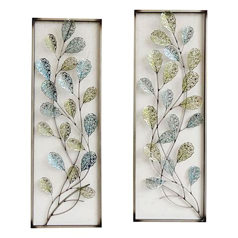 wall decoration at home 12 x 35 in framed filigree leaf wall d 233 cor at home