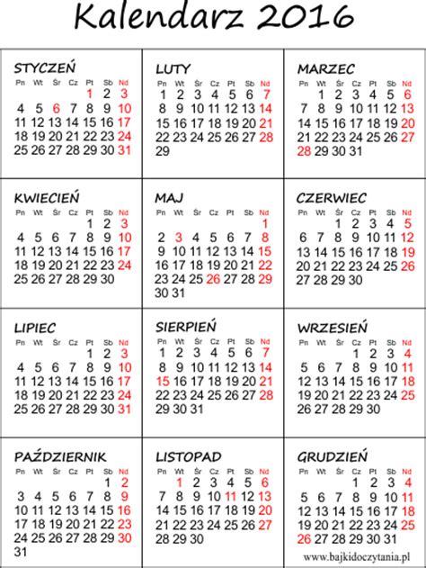 kalendarz 2016 do wydruku kalendarz na 2016 rok do druku pdf edukacyjne bajki do