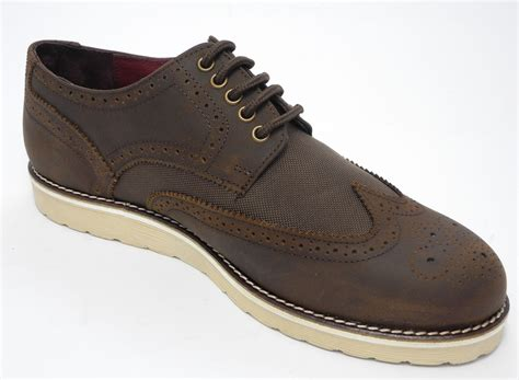 flat sole shoes mens brown real leather flat sole brogues shoes size 9 ebay