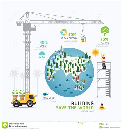 infographic nature care template design building save the