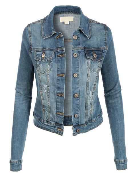light blue distressed denim jacket womens vintage long sleeve denim jean jacket with pockets