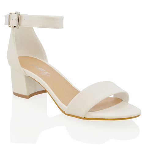 peep toe sandals low heel womens block low heel peep toe buckle ankle