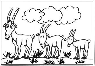 Three Billy Goats Gruff Troll Coloring Pages