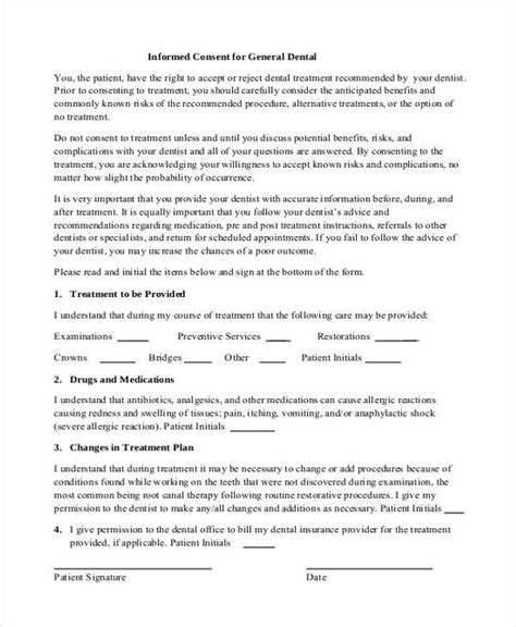 Informed Consent Form For Treatment Template 7 Dental Consent Form Sles Free Sle Exle Format Download