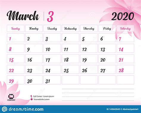 march  year template calendar  vector desk calendar design pink flower concept