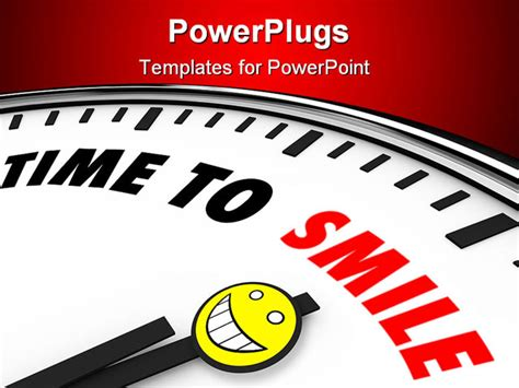 templates powerpoint smile white clock with words time to smile and a happy face
