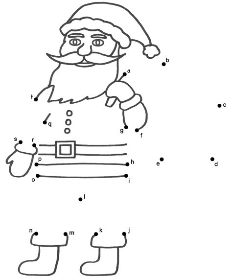 Santa claus connect the dots by lowercase letters christmas