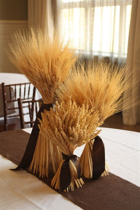 fall rustic country wheat wedding decor ideas deer
