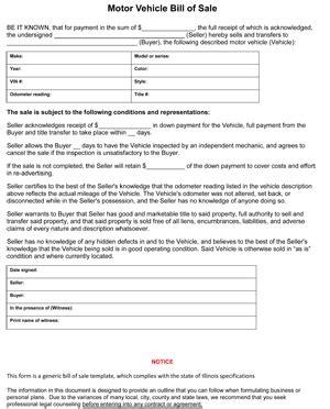 illinois auto bill  sale form ws templates forms