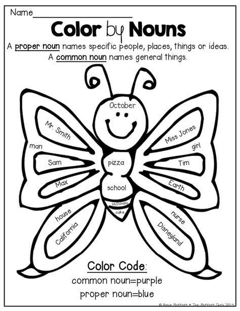 is color a noun free coloring pages of nouns and verbs
