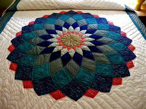 dahlia pattern review giant dahlia amish handmade quilt in teal navy and coral