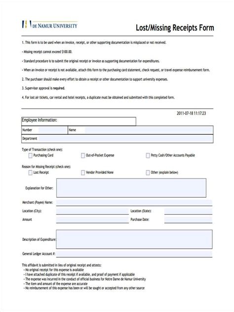 Duplicate Receipt Template by 5 Standard Receipt Form Sles Free Sle Exle