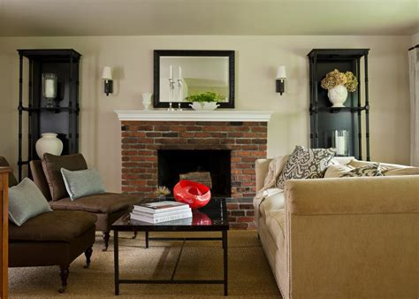 red brick fireplace living room traditional  brown