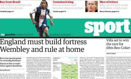 guardian main section guardian to cut daily standalone sport section media news