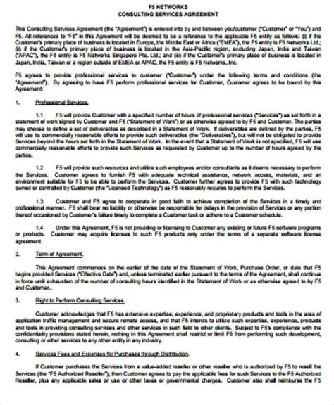 simple consulting agreement sles 6 exles in word pdf