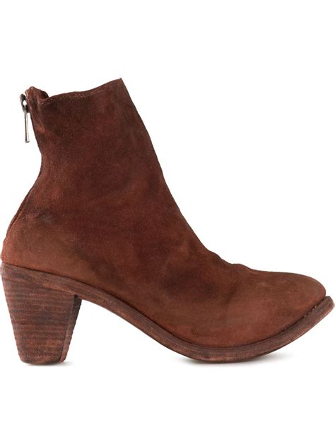 chunky heeled boots guidi chunky heel ankle boot in brown lyst