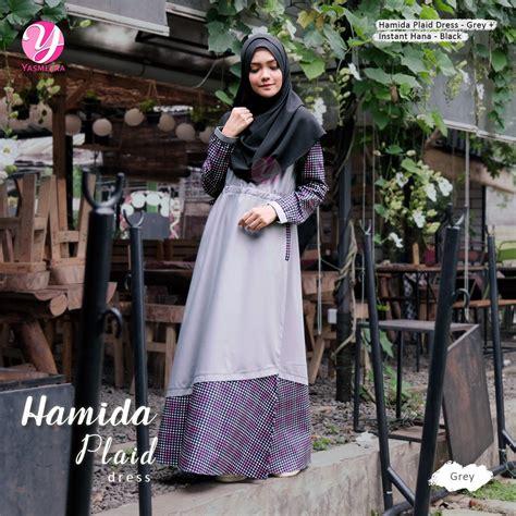 Gamis Katun Jepang Twil Kwalitas Kotak2 yasmeera gamis hamida plaid ar hijab store ar hijab store