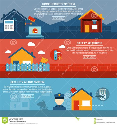 home security interactive flat banners set stock vector