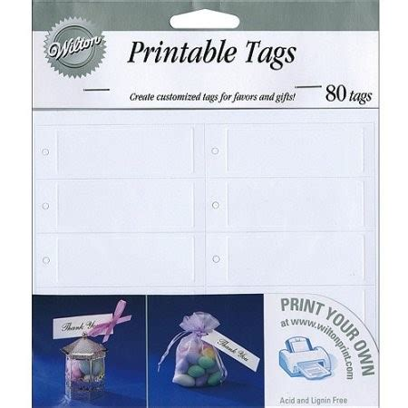 wilton printable tags rectangle white 80 ct walmart com