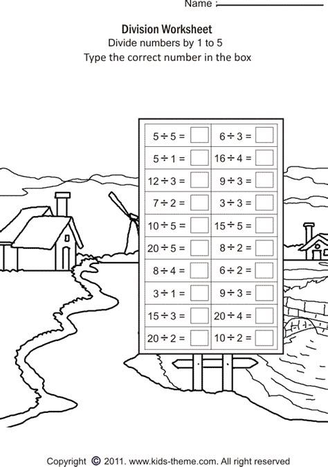 printable simple division games divide numbers by 1 to 5 matematica 1 2 pinterest