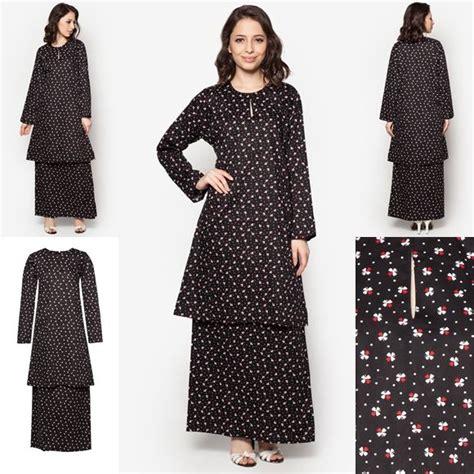 design batik cotton terkini baju kurung cotton warna black red baju raya 2016