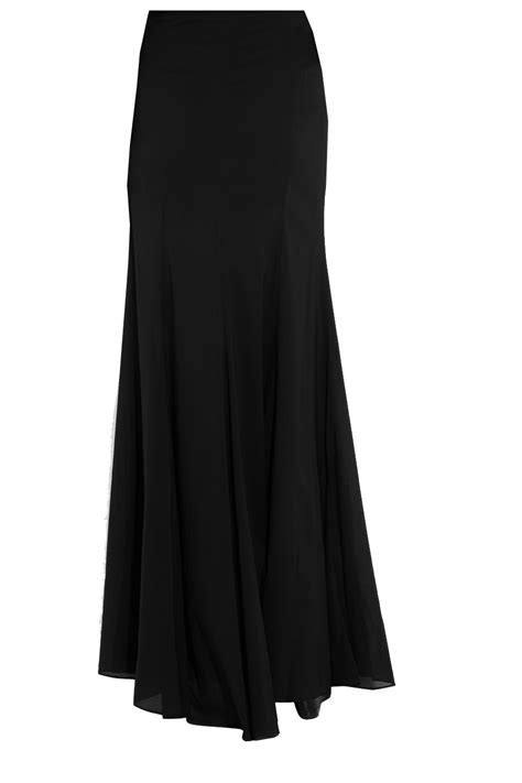 flowing georgette maxi skirt with trumpet pleats