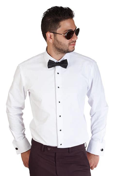 Tuxedo Shirt slim fit white spread collar cuff tuxedo azar suits