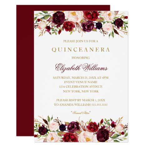 mexican invitations quinceanera lace invitaciones de elegant burgundy rose quinceanera invitation zazzle com