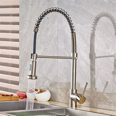 valencia kitchen faucet brushed nickel finish swivel pull brushed nickel kitchen faucet swivel spout pull down sink