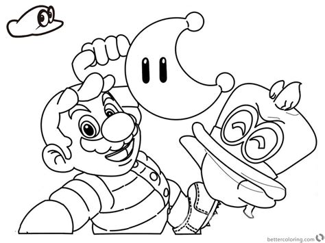 mario coloring mario odyssey coloring pages line drawing free