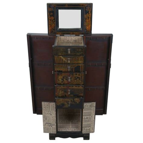 leather jewelry armoire handmade oriental design 51 quot antique style black leather